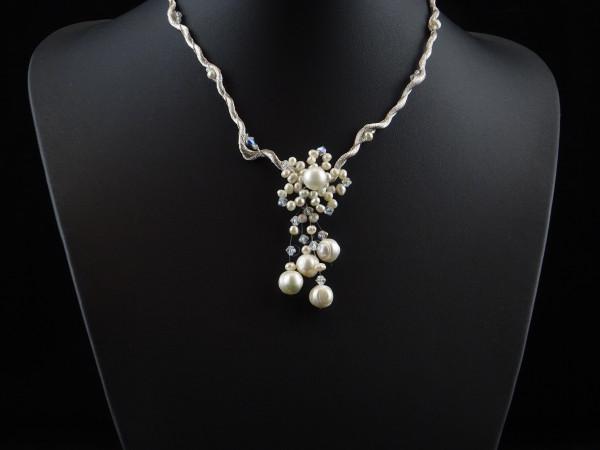 Festliche Süßwasserperlen Halskette