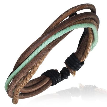 Hellblau Braunes Leder Armband