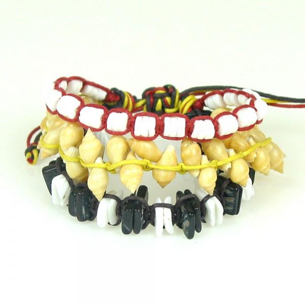 Schwarz Rot Gold Muschelarmband
