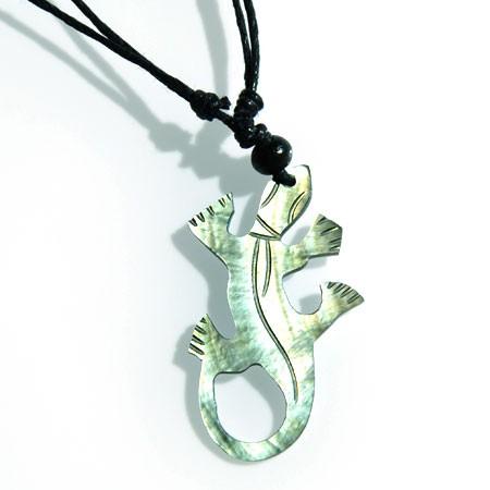 Halskette Gecko aus Perlmutt